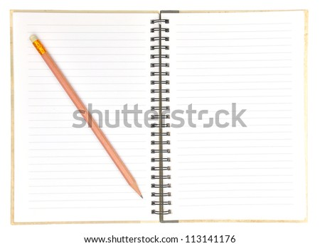 blank page of note book and pencil on white isolate,good used for web or background