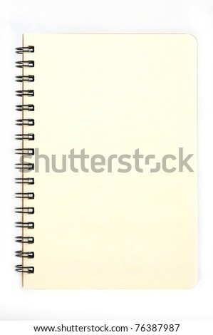 Blank page of note book (No line) on white background