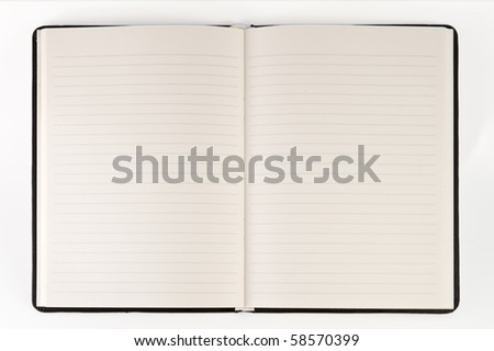 blank page of note book on white isolate,good used for web or background - stock photo