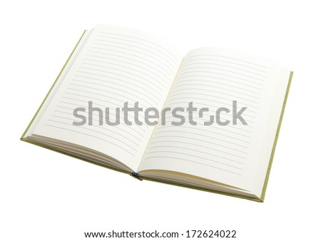 Blank page of notebook  isolated on white background