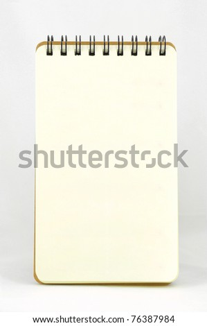 Blank page of vertical note book (No line) on white background - stock photo