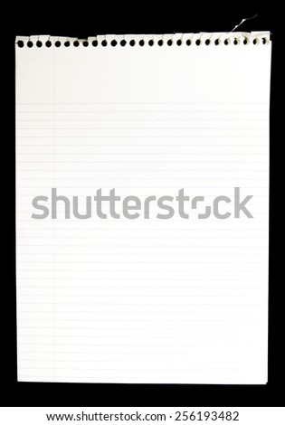 Blank Page Torn From Spiral Notebook On Black Background - stock photo