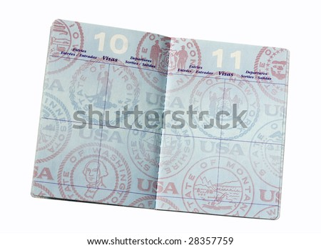 blank pages inside United States passport with clipping path