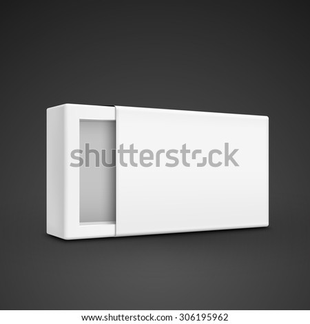 blank paper box template isolated on black background - stock photo