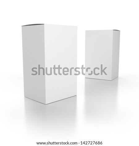 blank paper boxes composition. Template. Render - stock photo