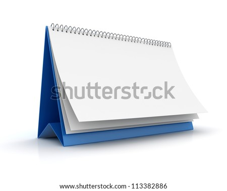 Blank paper calendar 3d render - stock photo