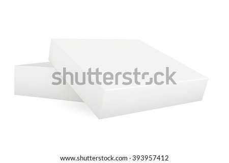 Blank paper cardboard. Box template standing on white background