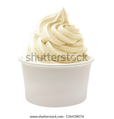 Blank paper cup with soft vanilla ice cream on white background - stock photo