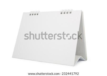 blank paper desk calendar with soft shadows, isolated on white,  file includes a excellent clipping path - stock photo