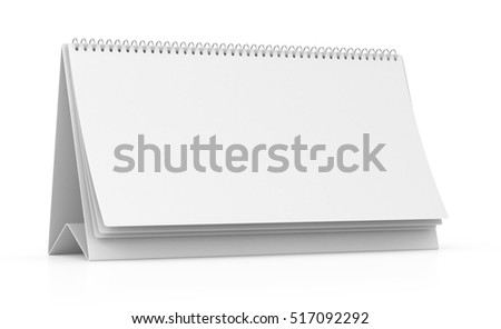 Blank paper desk spiral calendar. Isolated on white background. 3d render