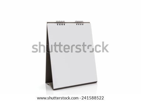 Blank paper desk spiral calendar on white background.  - stock photo
