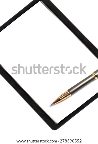 Blank paper document and pen - stock photo