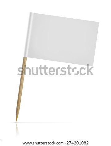 blank paper flag on white Background - stock photo