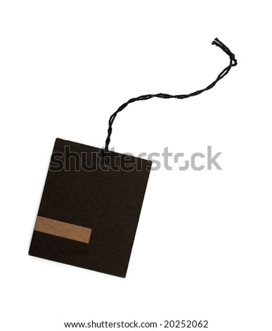 Blank paper hang tag with a string - stock photo