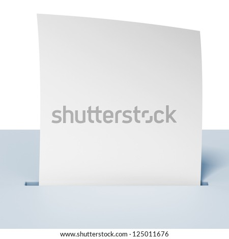 Blank paper in a blue ballot box isolated on a white background
