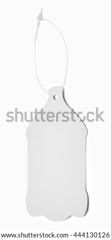 Blank paper label or cloth tag with bottle shape isolated on white