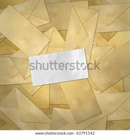 blank paper on Brown Vintage Envelope background . - stock photo
