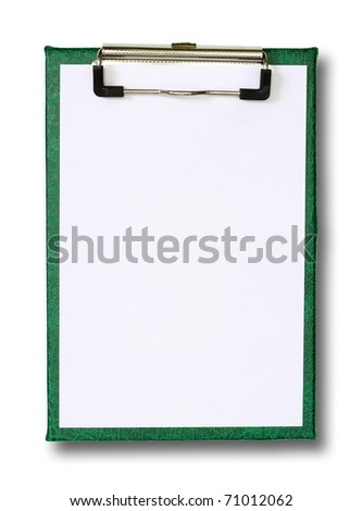 blank paper on green clip board isolated on white