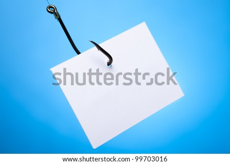 Blank paper on hook - stock photo
