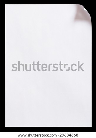 Blank paper page curl - stock photo