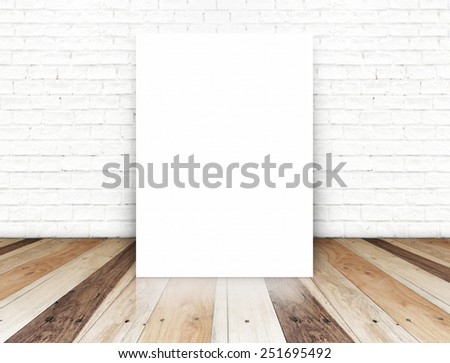Blank paper poster on the white brick wall and tropical wood floor,template for your content - stock photo