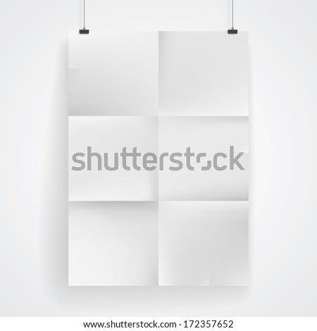Blank paper poster on white wall. Place your design and apply Transparency with Multiply blending mode to it. Raster version.