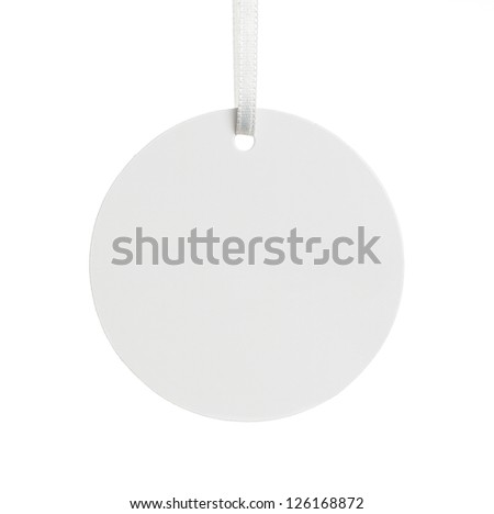 Blank paper price tag isolated on white background with copy space - stock photo