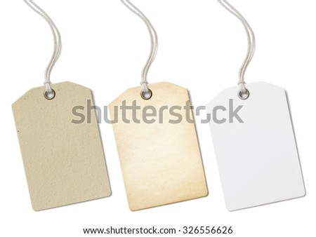Blank paper price tags or labels set isolated  - stock photo