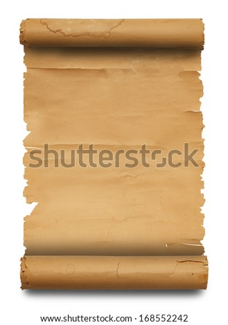 Blank Paper Scroll with Copy Space Isolated on White Background. - stock photo