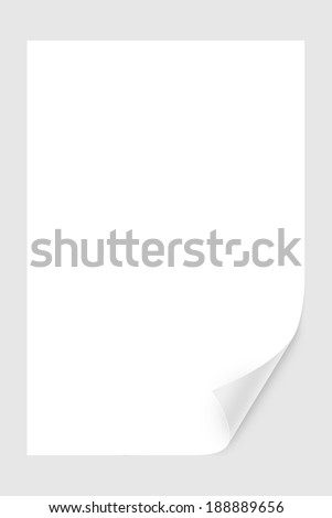 Blank paper sheet with realistic, white, glossy page curl. - stock photo