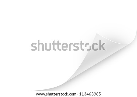 Blank paper sheet with realistic, white, glossy page curl. To use, layer mode must be multiply to make it into a transparent overlay and apply the shadows.