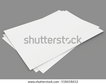 blank paper sheets isolated on gray background. 3d rendering.
