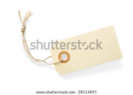 Blank paper tag with cotton string isolated on white background with shadow - stock photo