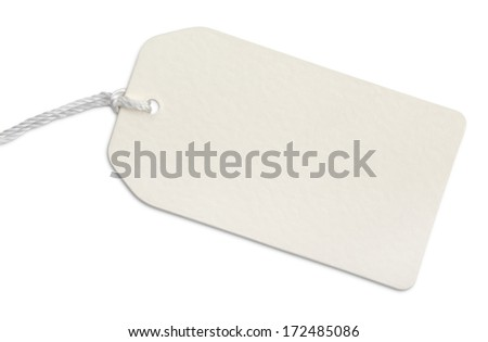 Blank paper tag with string isolated on white with clipping path - stock photo