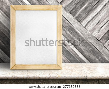 Blank paper white board on marble table at diagonal wooden wall,Template mock up for adding your design and leave space beside frame for adding more text - stock photo