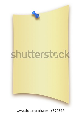 Blank paper with a thumb tack isolated on white