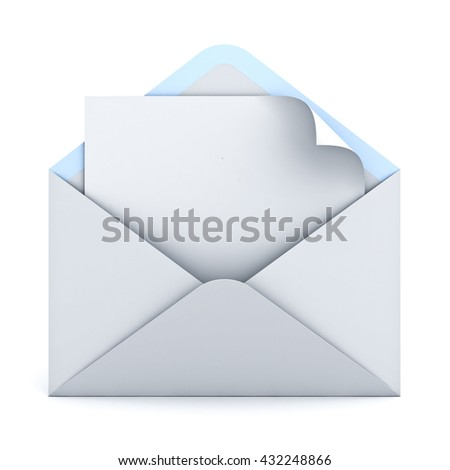 Blank paper with page curl in white envelope isolated on white background with shadow. 3D rendering. - stock photo