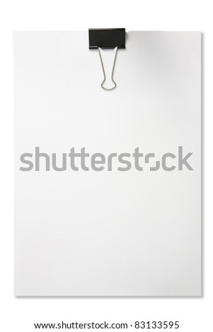 Blank paper with paper clip isolated in white background - stock photo