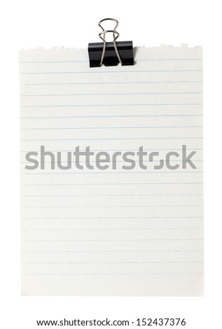Blank paper with paper clip isolated on white, Clipping path - stock photo
