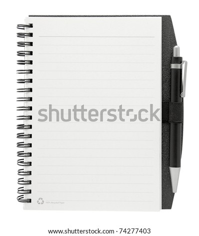 blank paper with pen isolated on white - stock photo