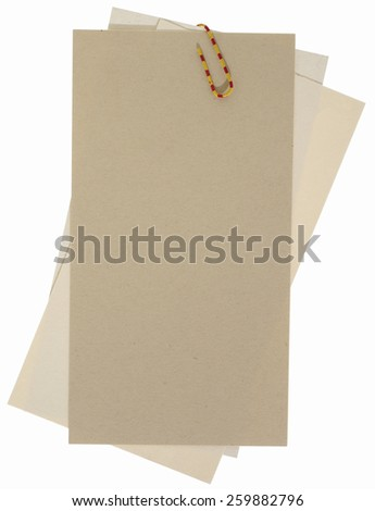 Blank papers labels connected with staple - stock photo