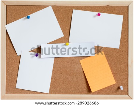 Blank papers pin up on cork board isolated on white background - stock photo