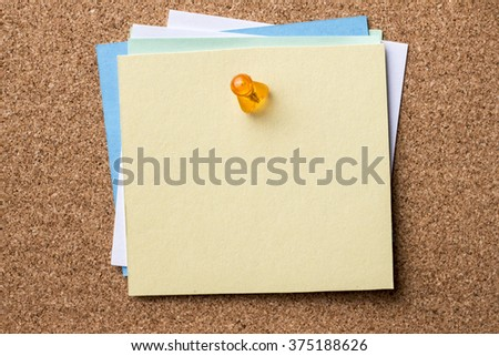 Blank papers pinned on bulletin board - horizontal image - stock photo