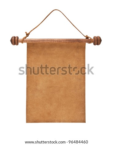 Blank parchment manuscript in a wooden case isolated on white background - stock photo