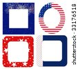 Blank patriotic frames in red, white and blue with flags and fireworks. - stock photo
