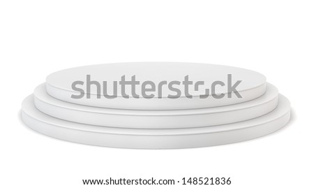Blank pedestal. 3d illustration on white background  - stock photo