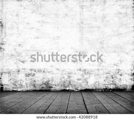 Blank photo frames on cement wall - stock photo