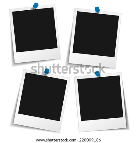 Blank photo frames with push pin and different shadow effect and empty space for your photograph and picture. Illustration isolated on white background. - stock photo
