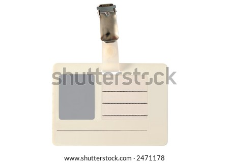 Blank photo ID badge, isolated on a white background. - stock photo