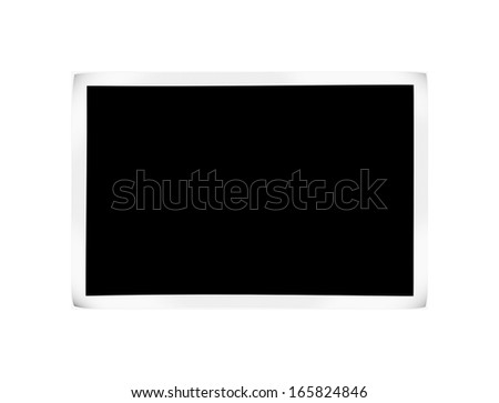 blank photo with curled angles on white. relationship 2:3 - stock photo